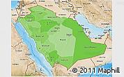 Political Shades 3D Map of Saudi Arabia, satellite outside, bathymetry sea