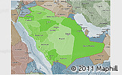 Political Shades 3D Map of Saudi Arabia, semi-desaturated