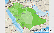 Political Shades 3D Map of Saudi Arabia, shaded relief outside