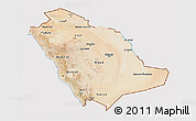 Satellite 3D Map of Saudi Arabia, cropped outside