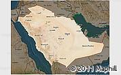 Satellite 3D Map of Saudi Arabia, darken