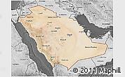 Satellite 3D Map of Saudi Arabia, desaturated