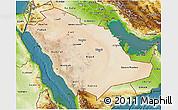Satellite 3D Map of Saudi Arabia, physical outside, satellite sea