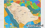 Satellite 3D Map of Saudi Arabia, political outside, satellite sea
