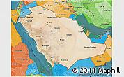Satellite 3D Map of Saudi Arabia, political shades outside, satellite sea