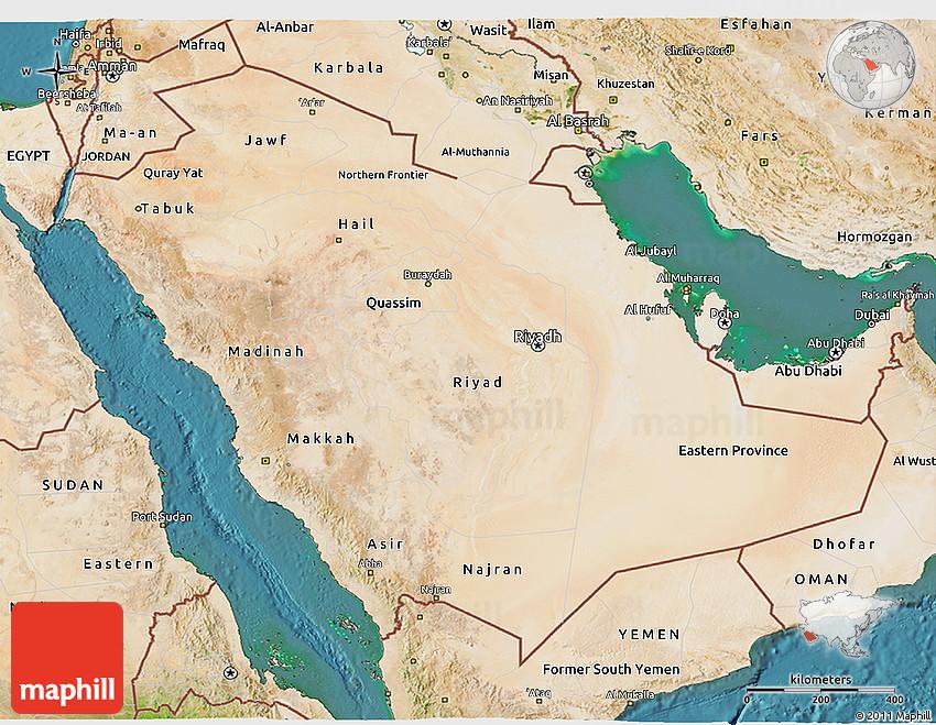 Satellite 3D Map of Saudi Arabia