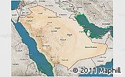 Satellite 3D Map of Saudi Arabia, semi-desaturated, land only