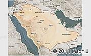 Satellite 3D Map of Saudi Arabia, semi-desaturated