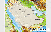Shaded Relief 3D Map of Saudi Arabia, physical outside