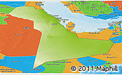 Physical Panoramic Map of Eastern Province, political outside