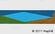 Political Panoramic Map of IRQ/SAU Neutral Zone, darken