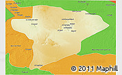 Physical 3D Map of Jawf, political outside