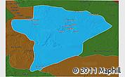 Political 3D Map of Jawf, darken