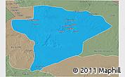 Political 3D Map of Jawf, semi-desaturated