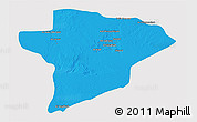 Political 3D Map of Jawf, single color outside