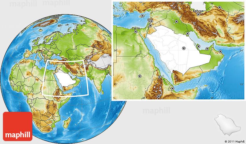 Blank Location Map of Saudi Arabia, physical outside