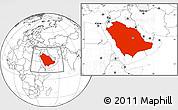 Blank Location Map of Saudi Arabia