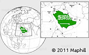 Flag Location Map of Saudi Arabia, blank outside