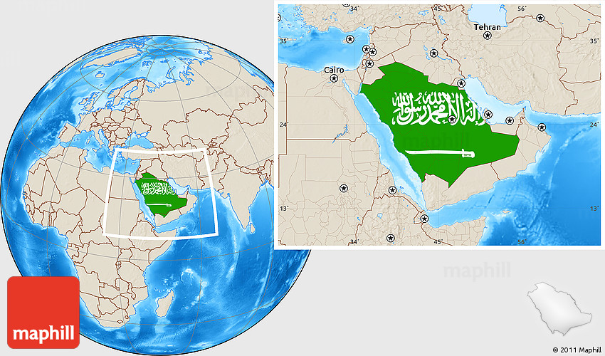 Flag Location Map of Saudi Arabia, shaded relief outside