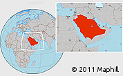 Gray Location Map of Saudi Arabia