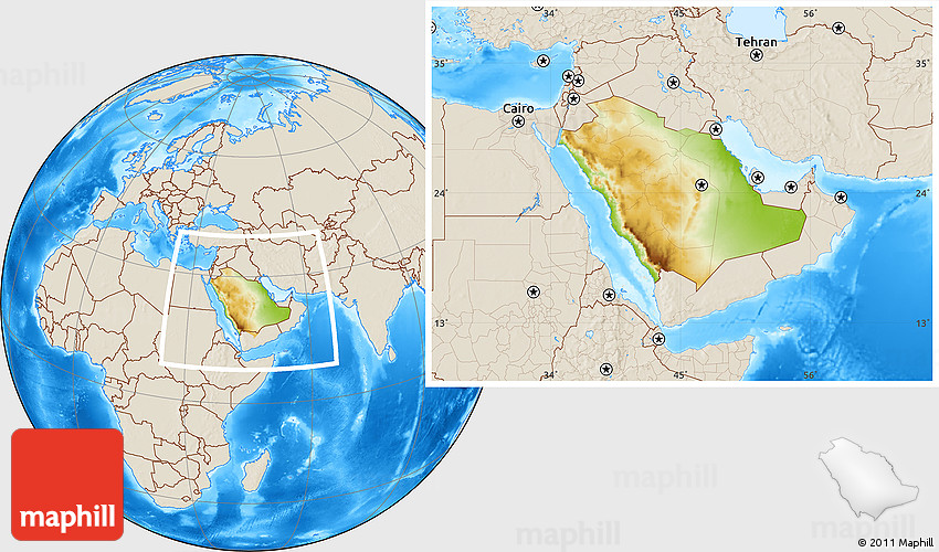 Physical Location Map of Saudi Arabia, shaded relief outside