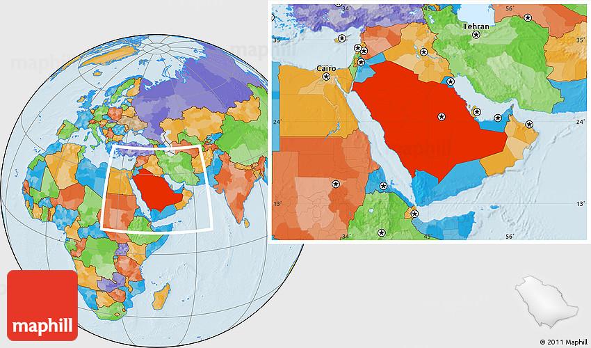 Political Location Map of Saudi Arabia
