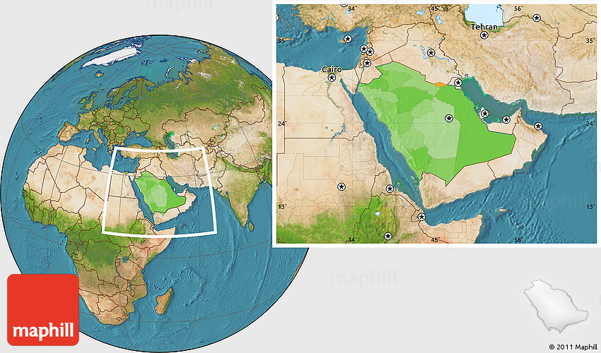 Political Location Map of Saudi Arabia, satellite outside