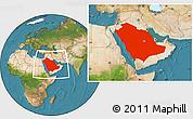Satellite Location Map of Saudi Arabia