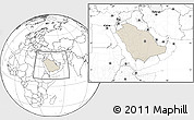 Shaded Relief Location Map of Saudi Arabia, blank outside