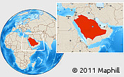 Shaded Relief Location Map of Saudi Arabia