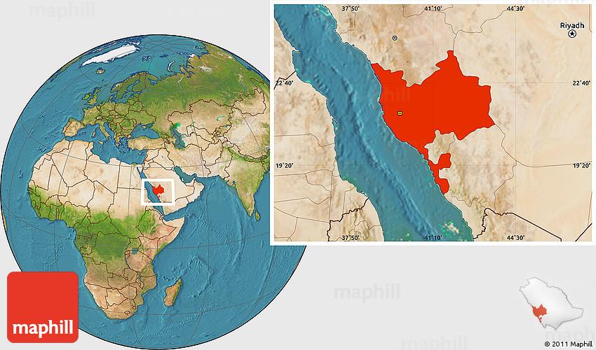 Satellite Location Map of Makkah