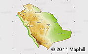 Physical Map of Saudi Arabia, cropped outside