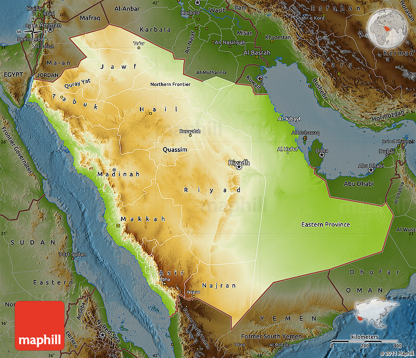 Physical Map of Saudi Arabia darken