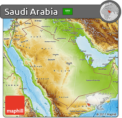 Free Physical Map of Saudi Arabia