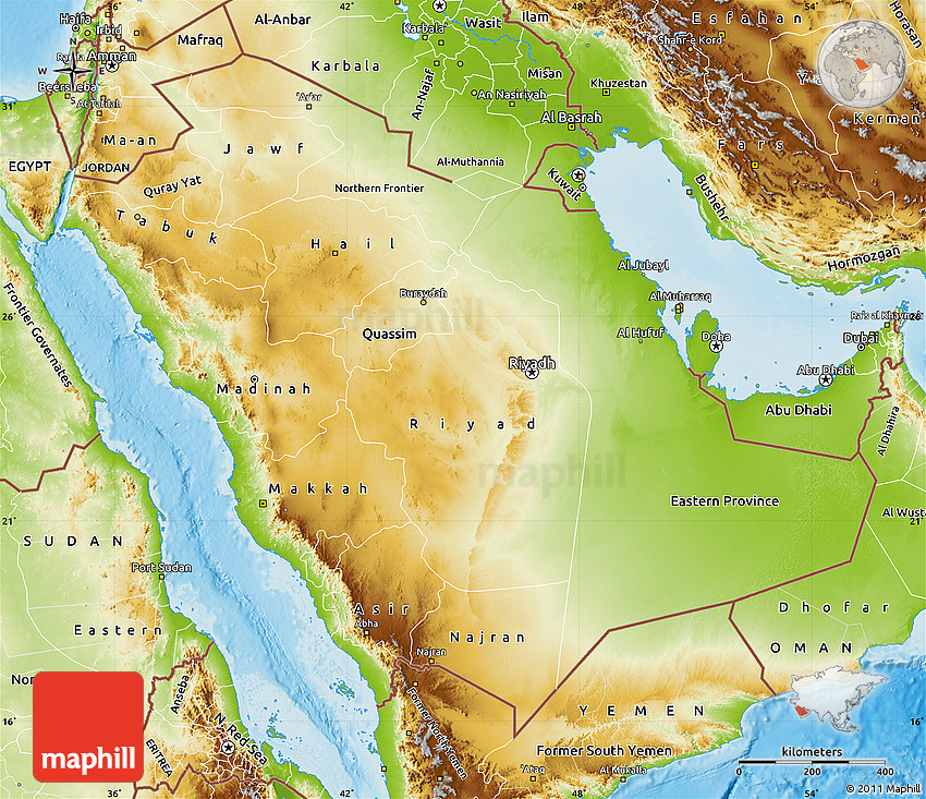 Physical Map of Saudi Arabia