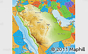 Physical Map of Saudi Arabia, political outside, shaded relief sea