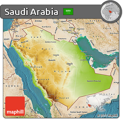 Free Physical Map of Saudi Arabia satellite outside
