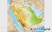 Physical Map of Saudi Arabia, satellite outside, shaded relief sea