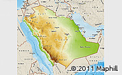 Physical Map of Saudi Arabia, shaded relief outside