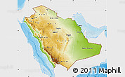 Physical Map of Saudi Arabia, single color outside, bathymetry sea, shaded relief sea