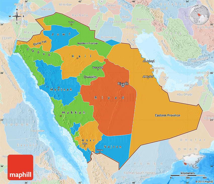 Political Map of Saudi Arabia, lighten, land only