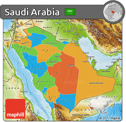 Free Political Map Of Saudi Arabia Physical Outside