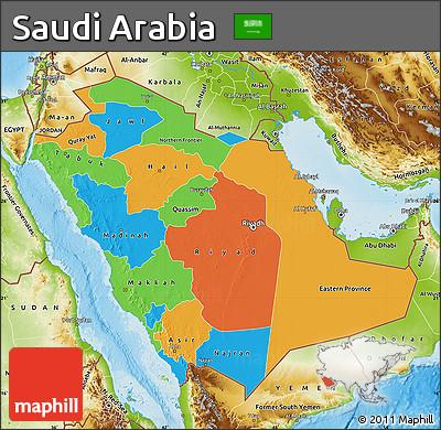 political map of saudi arabia physical outside