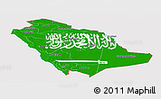 Flag Panoramic Map of Saudi Arabia