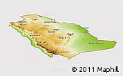 Physical Panoramic Map of Saudi Arabia, cropped outside