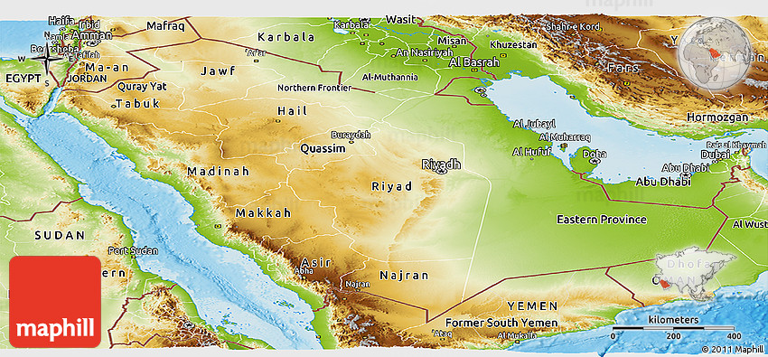 Physical Panoramic Map of Saudi Arabia