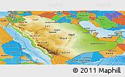 Physical Panoramic Map of Saudi Arabia, political outside