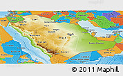 Physical Panoramic Map of Saudi Arabia, political outside, shaded relief sea