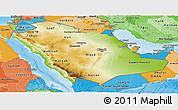 Physical Panoramic Map of Saudi Arabia, political shades outside