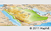Physical Panoramic Map of Saudi Arabia, satellite outside, shaded relief sea